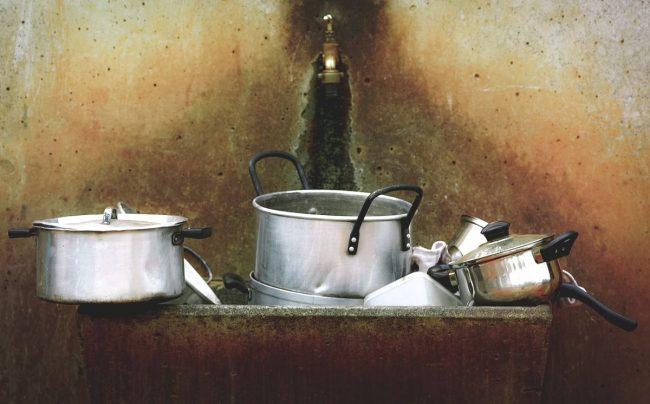 cleaning stainless steel pots and pans
